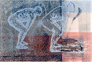 """Aus der Reihe """"Drinnen & Draußen"""", 1997 - 98, 24 Unikate, Farblinolschnitte auf Seidenpapier und Karton, je 50 x 76 cm (56 x 82 cm )"""