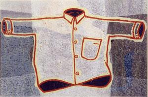 O.T., 2001, Linolschnitt auf Seidenpapier und Karton, (Unikat), 50,3 x 76 cm (56,3 x 82 cm)