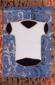 O.T., 2001, Linolschnitt auf Seidenpapier und Karton, (Unikat), 76,2 x 50 cm (82,4 x 56 cm)