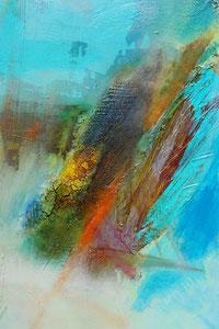 Ibiza 2, 2016, Marmormehl, Pigmente, Beize und Öl auf Leinwand, 100x70cm