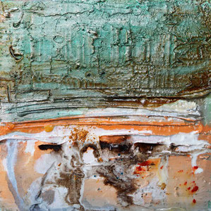 Öland 3, Steinmehl, Beize, Rost, Öl, 2016, 20x20cm