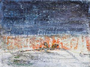 Serie Meer und Land 3, 30x40, 5/2017, Gips, Kaltwachs, Pigmente, Beize und Öl auf Leinwand
