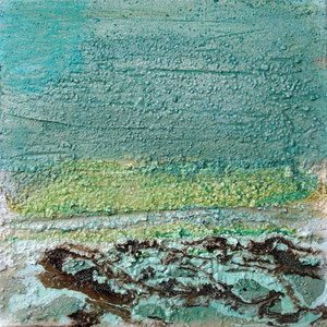 Öland 1, Steinmehl, Beize, Rost, Öl, 2016, 20x20cm