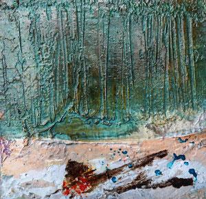 Öland 6, Steinmehl, Beize, Rost, Öl, 2016, 20x20cm
