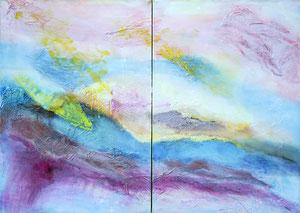 Ibiza 3 und 4, 2016, Diptychon, Marmormehl, Pigmente, Beize und Öl auf Leinwand, 2x 100x70cm