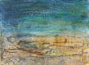 Serie Meer und Land 2, 30x40, 5/2017, Gips, Kaltwachs, Pigmente, Beize und Öl auf Leinwand