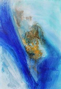 Ibiza 1, 2016, Marmormehl, Pigmente, Beize und Öl auf Leinwand, 100x70cm
