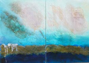 Ibiza 8 + 9, 2016, Marmormehl, Pigmente, Beize und Öl auf Leinwand, 2 x 100x70cm