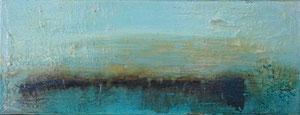 Sardinien, Himmel über dem Meer, 15x40cm, Sumpfkalk, Öl, Pigmente, Beize und Kaltwachs