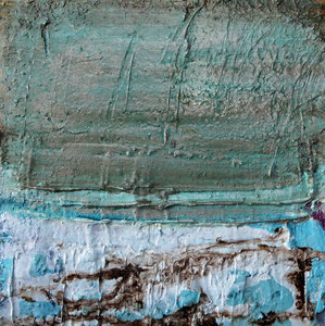 Öland 4, Steinmehl, Beize, Rost, Öl, 2016, 20x20cm