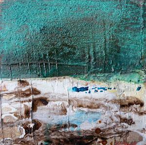 Öland 5, Steinmehl, Beize, Rost, Öl, 2016, 20x20cm