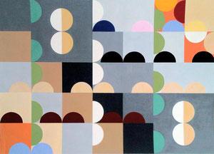 Quadratur des Kreises n°13 Vinyl auf Papier, 50 x 70 cm