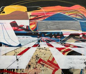 James Wallace Harris:  SonneWindErnte, 2017, 45,5 x 53 cm, Acryl auf Leinwand, Galerie SEHR Koblenz