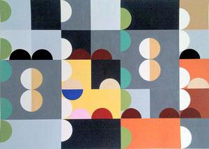 Quadratur des Kreises n°14, Vinyl auf Papier, 50 x 70 cm