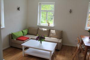 Wohn-/Esszimmer mit Schlafcouch der Ferienwohnung