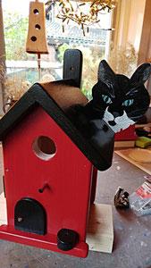 Houten Nestkastje, Nestkastje  met Kat, Details, Vogelhuisje bouwen ,  vogelhuisje met kat_13