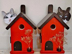 Houten Nestkastje, Nestkastje  met Kat, Details, Vogelhuisje bouwen ,  vogelhuisje met kat_15