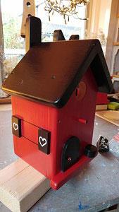 Houten Nestkastje, Nestkastje  met Kat, Details, Vogelhuisje bouwen ,  vogelhuisje met kat_14