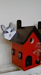 Houten Nestkastje, Nestkastje  met Kat, Details, Vogelhuisje bouwen ,  vogelhuisje met kat_19