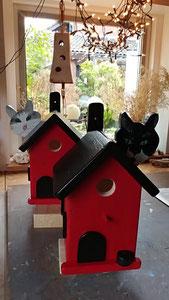Houten Nestkastje, Nestkastje  met Kat, Details, Vogelhuisje bouwen ,  vogelhuisje met kat_12