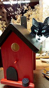 Houten Nestkastje, Nestkastje  met Kat, Details, Vogelhuisje bouwen ,  vogelhuisje met kat_8
