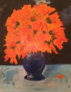 Blumen in blauer Vase II (70x90cm), Acryl auf Leinwand