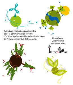 Illustrations vectorielles sur le thème de l'environnement et de l'écologie pour la communication interne d'une entreprise réalisées par Cloé Perrotin