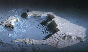 La caldera innondée après l'explosion (mythe de l'Atlantide ?)