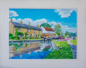 """""""Fenny Stratford"""" Acrylic £175   50 x 40 cms approx outside frame measurement"""