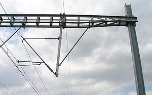 en I : poteau soutenant un caténaire de chemin de fer