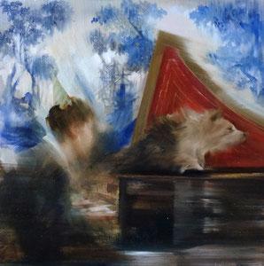 Willows of Baigne and the Red Woods 2020 Öl auf Leinwand 30 x 30 cm verkauft
