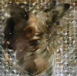 Raining Down a Barn 2020 Öl auf Leinwand 70 x 70 cm verkauft