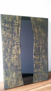 """""""Black River III"""" Strukturen und Resin auf Leinwand, 50 x 70 cm"""