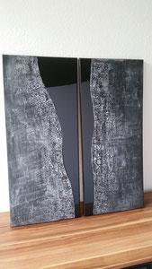 """""""Black River - silver"""" Strukturen und Resin auf Leinwand, je 30 x 70 cm"""