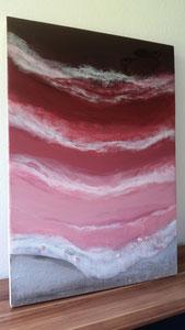 """Rose Lake"" Resin und Sand auf Holz, 70 x 100 cm"