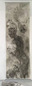 ohne Titel, November 2019, Tusche auf Papier, 100 x 320 cm