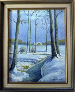 Winterbild, Rudolf Stelling, H41 cm x B34 cm, mit Rahmen € 420.-