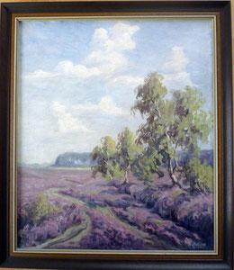 Heidebild, Rudolf Stelling, H69 cm x B60 cm, mit Rahmen € 490.-