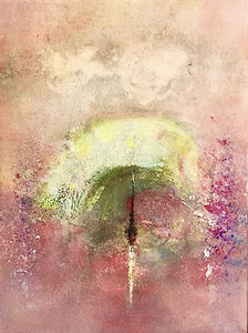 Presenza avvolta, 2017, tecnica mista, 30 x 40 cm (cornice bianca 50 x 60 cm)