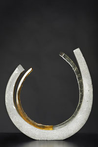 Open Circle,  2014: Cast glass and Cement: 38cm x 43cm