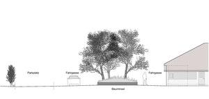 Praxis Feldegg Romanshorn: Schnitt durch Vorplatz