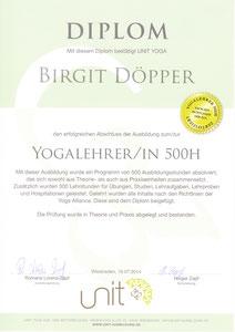 Yogalehrer-Diplom; 500 Std. Ausbildung, zertifiziert nach der American Yoga Alliance