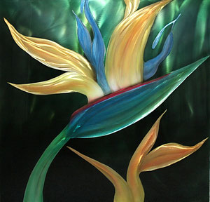 """Bird of Paradise"" Original  Aluminum 24"" x 24"""
