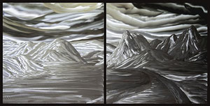 """""""Into the Mountains"""" Aluminum Diptych 24"""" x 24"""" each piece"""