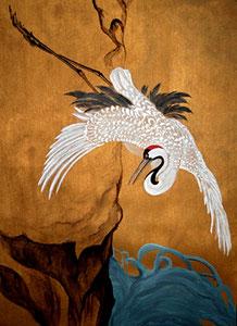 "Oriental Crane - Acrylic 24"" x 36"""