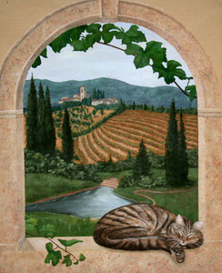 "Tuscan Mural with Sleeping Cat -Acrylic 36"" x 48"""