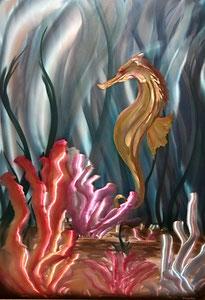 """Golden Seahorse"" Aluminum 24"" x 36"""