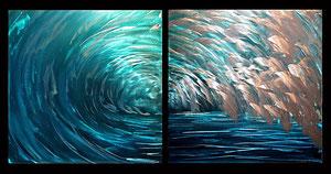 """""""Waves"""" Aluminum Diptych 18"""" x 18"""" each piece"""