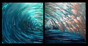 """Waves"" Aluminum Diptych 18"" x 18"" each piece"