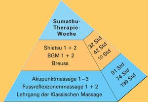 In der Pyramide sehen sie die verschiedenen Therapiemethoden, welche zur Sumathu-Therapeutin führten.